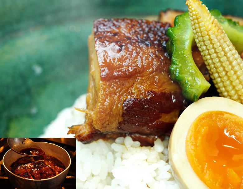 豚バラブロックとこのたれでコトコト煮て、麹蔵のラフテーは作られます