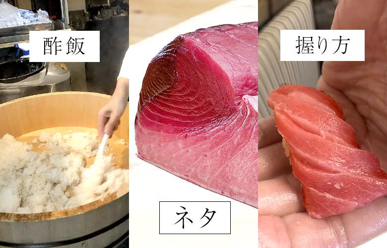 寿司のおいしさは、酢飯、ネタ、握り方に3分割される