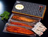 築地魚力の『若うなぎ(新仔)蒲焼』鹿児島県産 約130g×3尾 化粧箱 山椒付き添付たれ3個付き ※冷凍